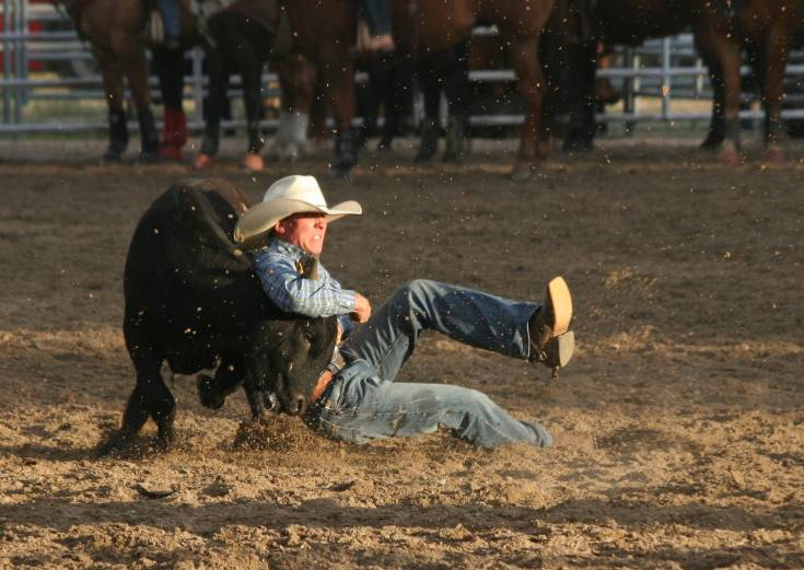 Tiegan Finnerty competes in steer wrestling at the Cowboy Up in Kiowa Rodeo on June 27.