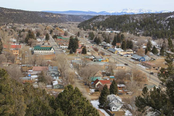 Modern day Dolores, Colorado, from the hill.