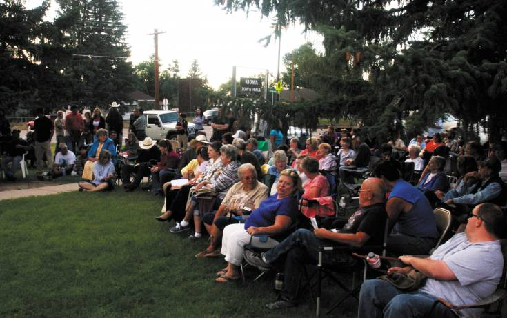 More than 100 residents showed up on the front lawn of the Kiowa Town Hall on July 8 for a discussion on the possibility of a ballot question on marijuana.