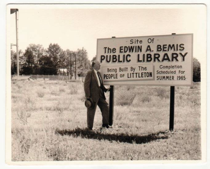 Edwin Bemis at the then-future site of the Littleton Library named for him.