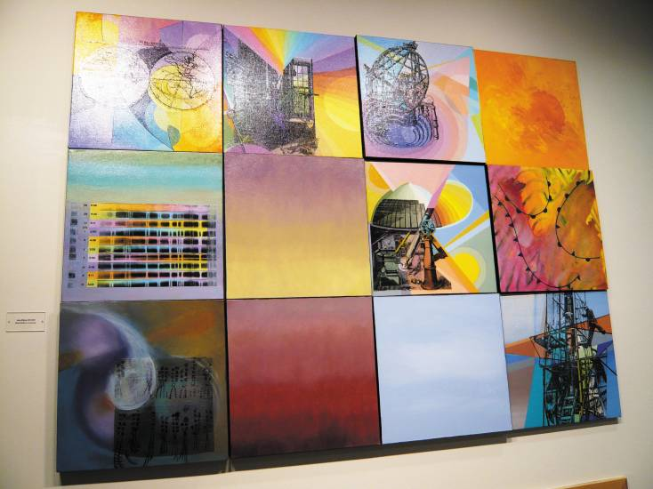 �Astro History� by Sandra Kaplan is painted with  mixed media on 12 canvases, 54� x 72�. Photo by Sonya Ellingboe