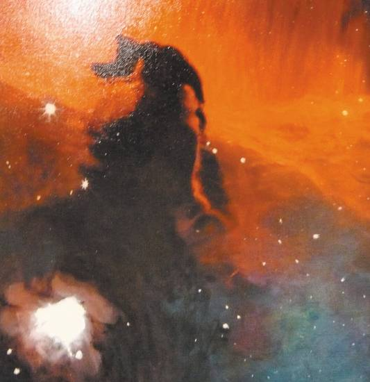 �Horsehead Galaxy,� oil and acrylic on canvas, 18��x18� by Sandra Kaplan is in her �Galactic Stories� Exhibit. Photo by Sonya Ellingboe
