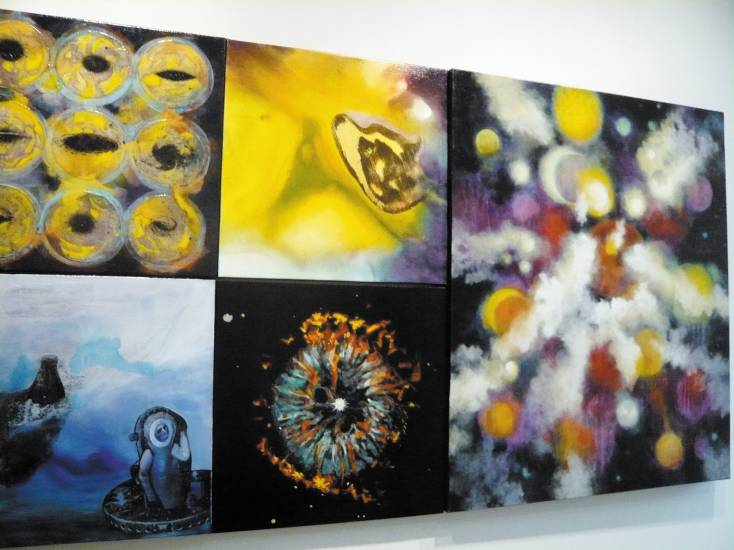 �Sam and Steilka� mixed media on five canvases, 36� x 66� is in Kaplan�s �Galactic Stories� Exhibit. Photo by Sonya Ellingboe