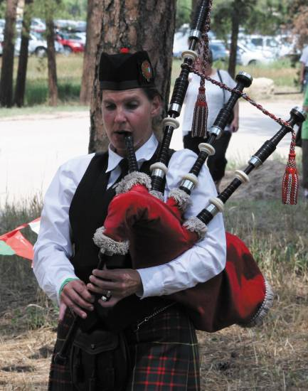 Lynn Quire displays her skills in the solo bagpipe competition at the Elizabeth Celtic Festival on July 20.