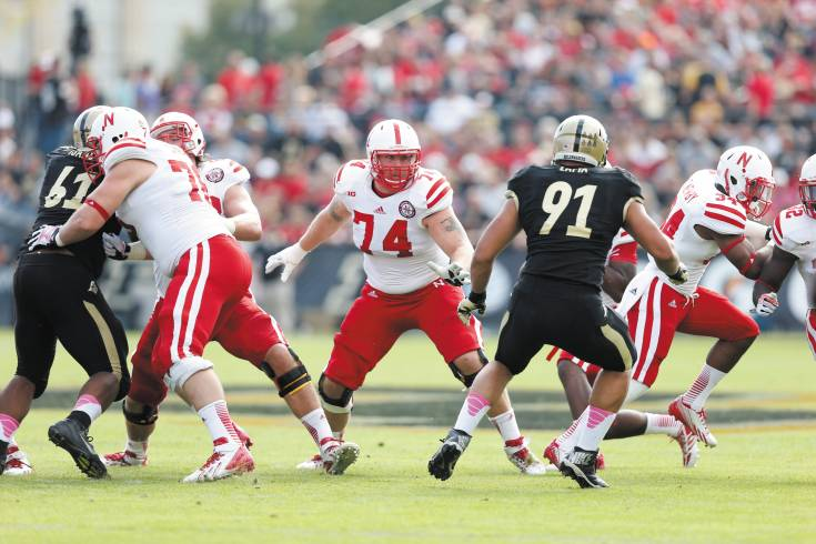 Mike Moudy (74), shown here in action against Purdue last season, is poised to play a big role on Nebraska's offensive line this fall.