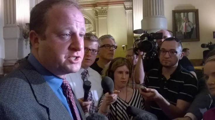 U.S. Rep. Jared Polis discussing the details of a deal reached with Governor John Hickenlooper concerning fracking and local control initiatives on Monday, Aug. 4.