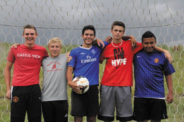 From left: Seniors Jason Messer, Brent Hargrave, Pablo Porragas, Kiley O'Connor and junior Armando Acosta are expected to be key players on the pitch for Castle View this fall.