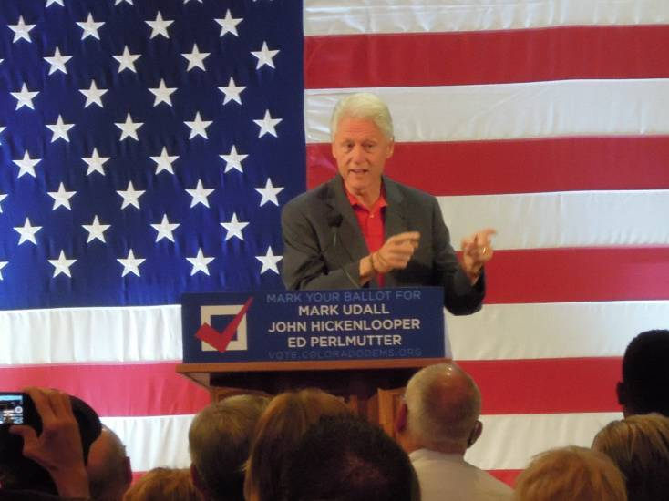 Former president Bill Clinton spoke to Democrats in Lakewood on Tuesday, Oct. 28, in support of state candidates, facing stiff competition.