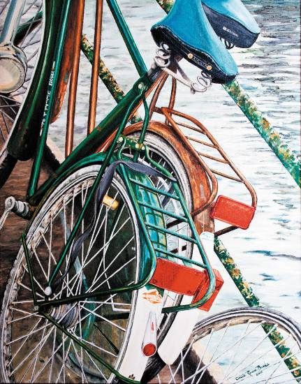 """Double Dutch"" by Colette Brooks depicts a pair of bikes parked by a canal in Amsterdam. It has won attention in other shows and is in ""Art of Water at Littleton's Town Hall. Courtesy photo"