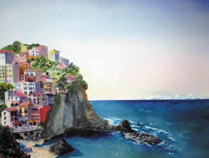 """Morning in Manarola"" by Kate Wyman will be included in ""Art of Water"" at Littleton Town Hall's Stanton Gallery through Jan. 5."