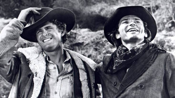 "Ben Murphy as Jedediah ""Kid"" Curry, and Pete Duel as Hannibal Heyes in ""Alias Smith and Jones."""