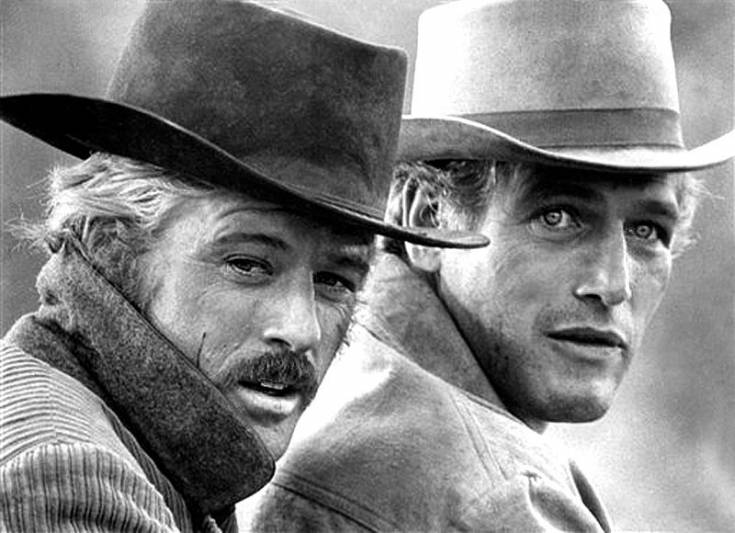 Paul Newman and Robert Redford as Butch Cassidy and the Sundance Kid.