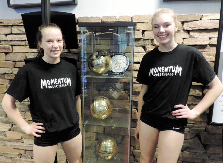 Taynin Abbott, left, and Paityn Hardison play for the Momentum Volleyball Club in Centennial. Both are committed to specializing in volleyball.