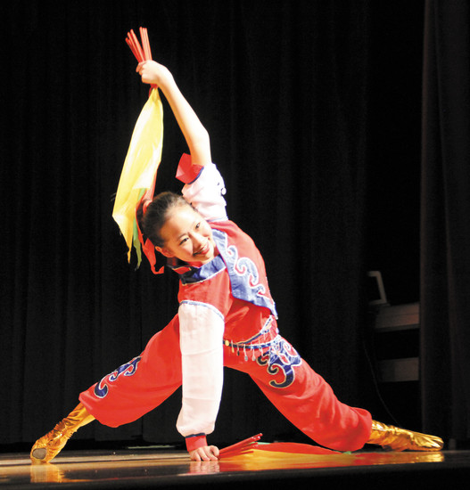 Hannah Chu performs a Mongolian folk dance at the Chinese New Year celebration, which took place Feb. 21 at the Southridge Recreation Center in Highlands Ranch.