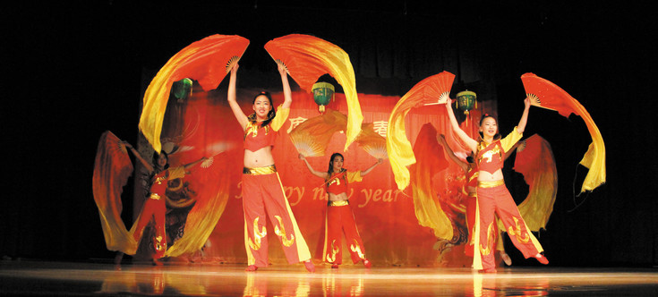 Performers with the Joyful Chinese Culture Center perform the Red Silk Dance at the Chinese New Year celebration, which took place Feb. 21 at the Southridge Recreation Center in Highlands Ranch. Photo by Christy Steadman