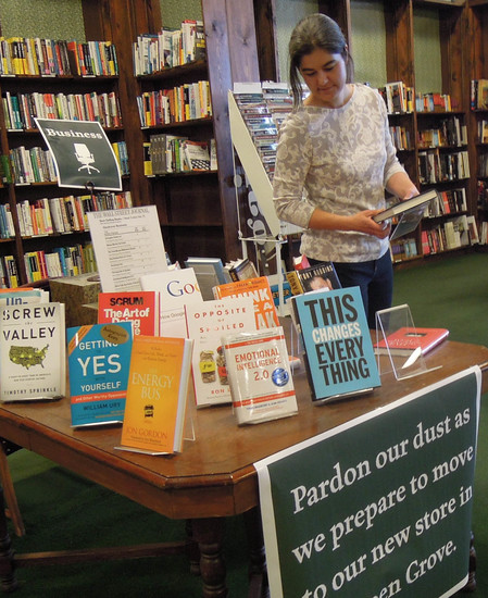 The Tattered Cover at the Highlands Ranch Town Center will be moving to Littleton in April. Employees are in the beginning stages of packing books and breaking down shelves, said general manager Margaret Shaheen, pictured, but people are still welcome to shop or enjoy the other amenities of the bookstore, she added, because the location will stay open through March. Photo by Christy Steadman