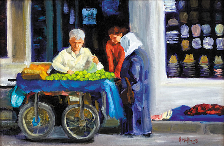 """The Turkish Fruit Seller"" by Helen Matthews was painted after a trip to Ismir, Turkey. It is in ""The Art of Memories"" exhibit at Town Hall Arts Center. Courtesy photo"
