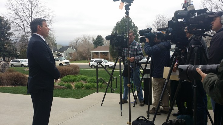 Michael Rooche, attorney for the Davis family, gives a press conference outside of the LPS administration building on April 2. Photo by Jennifer Smith
