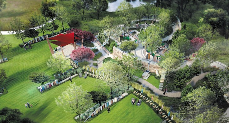 Seven Stones cemetery, to be located in northwest Douglas County, will boast a botanical garden, complete with strolling paths, artistic sculptures, pavilions, fire pits, water features and outdoor gathering and seating areas. Rendition courtesy of Seven Stones