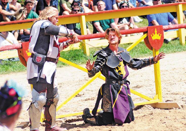 Two knights took to a sword duel after jousting at the Colorado Renassance Festival in Larkspur.