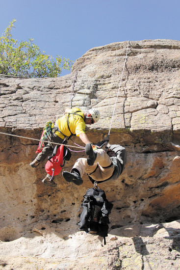 The training, which took place at Castlewood Canyon State Park, included a rock climbing rescue.