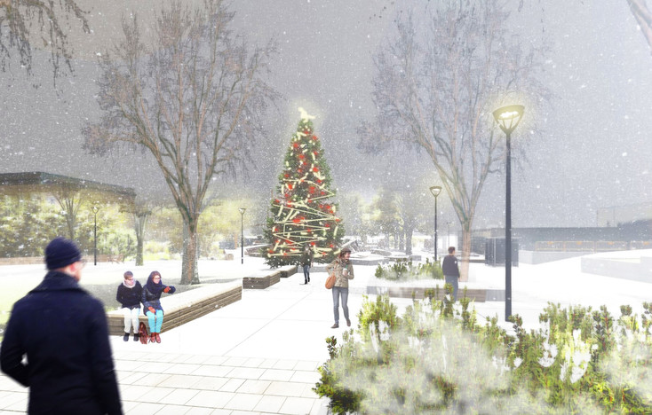 The proposed design includes a Christmas tree lighting area.