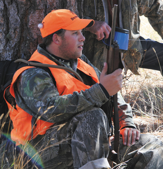James Jordan, of Arvada, takes a break after a full morning of hunting.