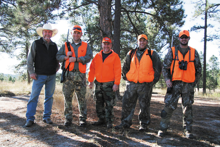 Elbert County Commissioner Robert Rowland, Nathan Henderson, Dave Proffit (Veterans in Action), James Jordan, and Mike Alsop are shown during the hunt.