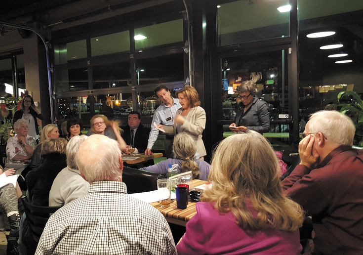State Sen. Linda Newell inivited Rep. Daniel Kagan and Sen. Lucia Guzman, the new minority leader, to her town hall at Locovore Beer Works in Littleton on Dec. 10.