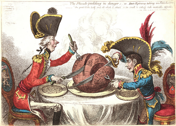 """The Plum Pudding in Danger,"" a hand-colored etching by James Gillray, is one of the world's most famous cartoons, showing William Pitt carving off Oceana and Napoleon taking Europe. It is part of the ""Under the Guillotine"" exhibit at the Center for Visual Art. Photos courtesy of the Center for Visual Art"