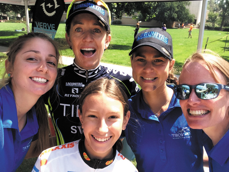 From left in the back row, Alizee Brien, Joanne Kiesanowski, Kristabel Doebel-Hickok and Patricia Schwager, all of Team TIBCO-SVB, take a selfie with Goldenite Abby Greiner, 10, before the female pro cyclists race in Stage 3 of the Women's USA Pro Challenge. Golden residents helped host many members of the women's teams, putting a personal touch on the international race.