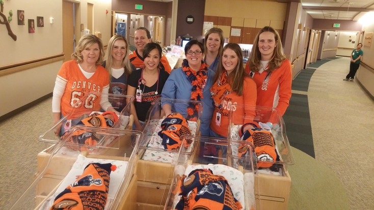 Babies in Parker Adventist's BirthPlace were decked out in Broncos gear for the playoff match-up against the Steelers.