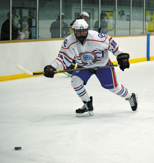 Joseph Whitmore of the Cherry Creek hockey team scored twice in the Bruins' 9-2 win over Palmer on Jan. 2.