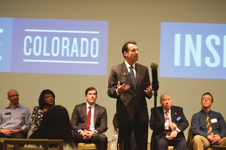 State Senate District 26 candidate Daniel Kagan speaks at the Inspire Colorado candidate forum at History Colorado Center on March 8.