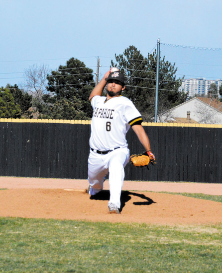 Arapahoe pitcher Desmond Pineda  allowed one run in six innings, striking out eight, against Regis Jesuit early this season but was taken out because he was nearing the pitch limit. The Warriors lost 7-3 as Regis scored six runs in the seventh against relief pitching.