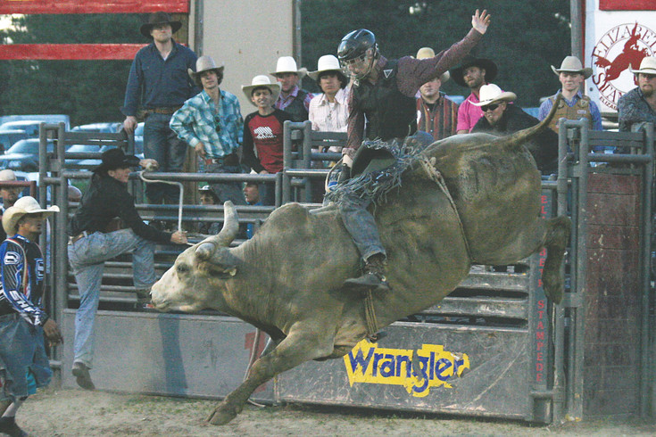 Luke Eddington handles The Rat. Thirty-nine Riders from around the region signed up to ride bulls at the Elizabeth Stampede Community Rodeo this year.