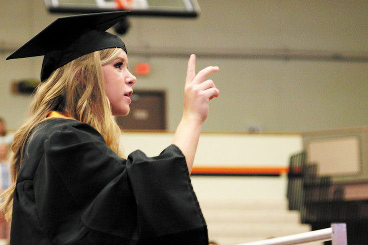 Class Valedictorian Madi Zielinski counts down the Turning of the Tassels. Zielinski earned a 3.978 Grade Point Average and will be attending the University of Northern Colorado in the Fall.