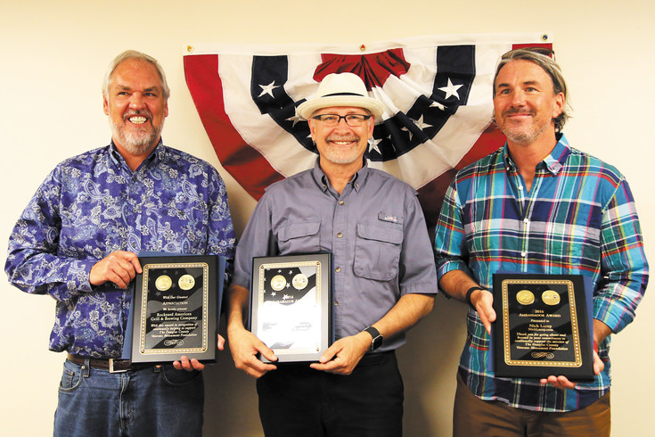 From left, Jeff Drabing of Rockyard American Grill & Brewing Company, John Manka of 1 Stop Auto, and Nick Lucey of NickLucey.com, were honored for their contributions to the Douglas County Veteran's Monument Foundation.