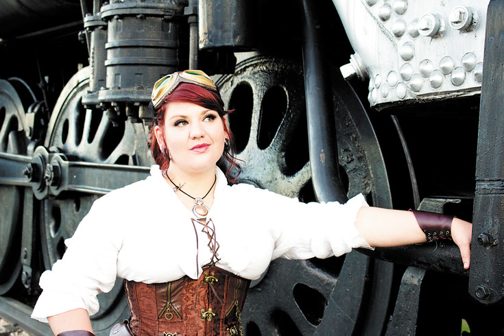 Danielle Ghear, the Colorado Railroad Museum's resident steampunk expert and steampunk event expediter, poses for a promotional photo for the museum's upcoming Steampunk at the Station event, which will include two events — a family-friendly daytime event including a train ride, and a 21+ concert — on June 18. Photo courtesy of Matt Isaacks, social media coordinator for the Colorado Railroad Museum