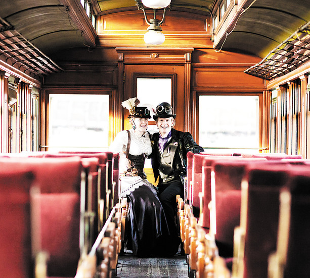Two models pose for a promotional photo for the museum's upcoming Steampunk at the Station event. The event, which takes place June 18, will offer family-friendly fun in daytime, including a ride on Locomotive No. 491, and a musical performance by Hydrogen Skyline, which is a 21+ concert. Photo courtesy of April O'Hare