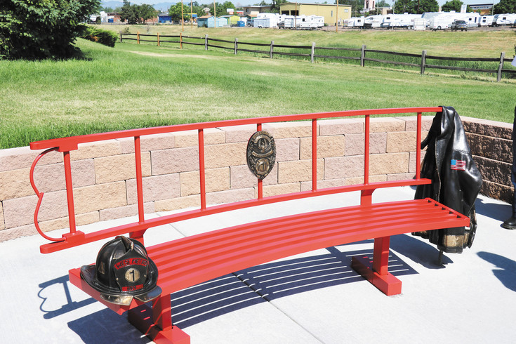 Firefighters Austin Weishel and Tim Driscoll were picked by former station captain Travis Hopwood, to build a bench outside station No. 1. The metal bench also features bronze work.