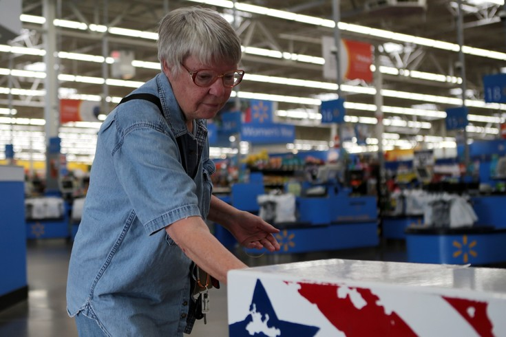 Voter Sharon Oliver of Elizabeth cast her ballot in the Walmart drop box. According County Clerk and recorder over 23 percent of the ballots cast in Elbert County were submitted in the store's drop box.
