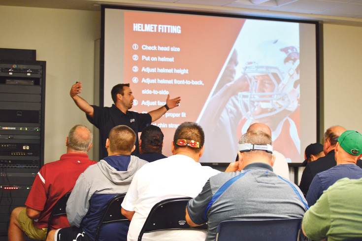 Greg Miller, an assistant football coach at Legacy High School and USA Football Master Trainer, conducted a four-hour USA Football Heads Up Football Player Safety Coaches Clinic on June 25 at the Pat Bowlen Fieldhouse at UC Health Training Center. There were 40 youth coaches in attendance.