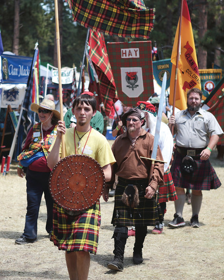 Scottish and Irish clans march in the clan parade. This year 38 clans were represented at the Elizabeth Celtic Festival.
