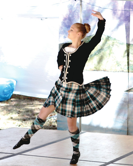 Scottish dancer Cady Davis places first in the novice category. Cady and her family traveled from Oklahoma City to compete in Saturday's competition at the Elizabeth Celtic Festival.