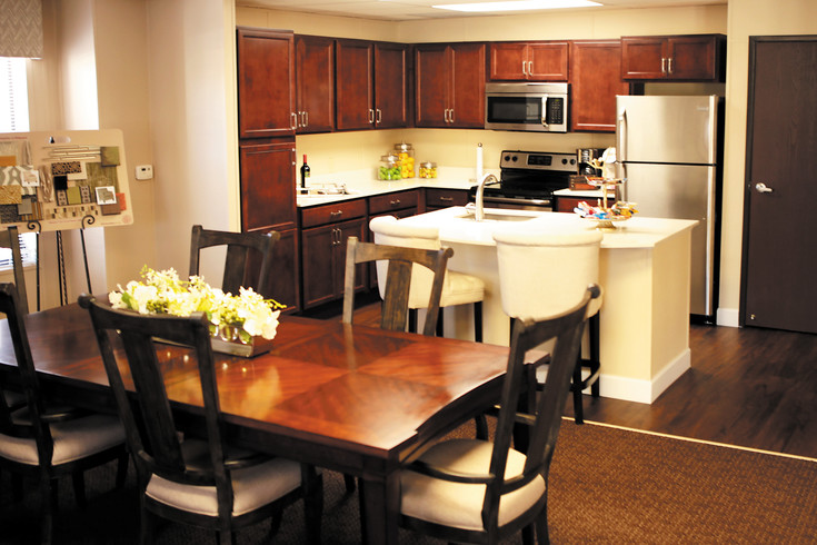 This mockup of a kitchen in the sales office is typical of all apartments throughout the community. Apartments in the memory center are also designed to be consistent with the standards enjoyed by residents in independent and assisted living.