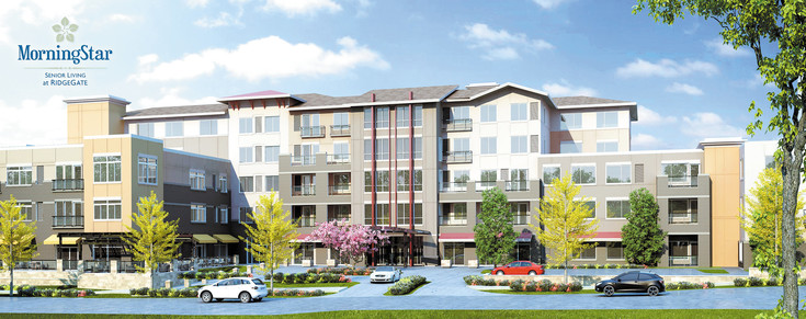 Artist rendering of the new MorningStar Senior Living at RidgeGate. When completed the facility will accommodate Independent and assisted living as well as provide a secured memory care center. Courtesy image