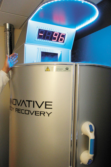 The cryosauna at Innovative Body Recovery is a machine that blasts cold nitrogen gas onto clients. Director of operations Micah Kim and associate Shankar Ramakrishnan say the treatment helps alleviate muscle pain and inflammation.