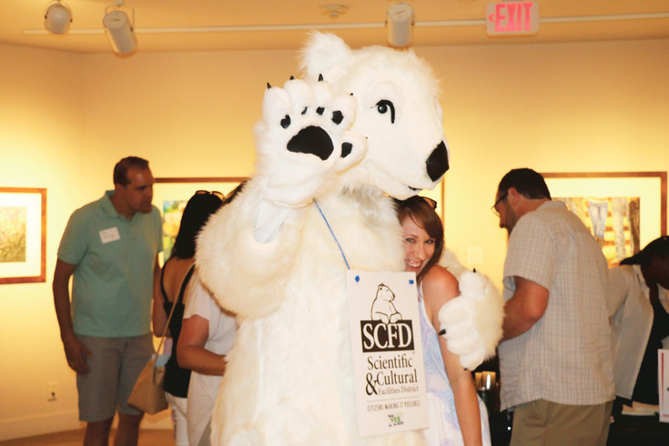 Popsicle, the SCFD (Scientific and Cultural Facilities District) polar bear, visited the Arvada Center on July 9 as part of the center's 40th anniversary celebrations.