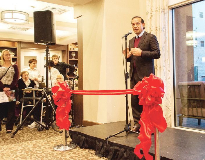 CEO and founder of MorningStar Senior Living Ken Jaeger spoke at the ribbon cutting on Jan. 11. Jaeger's father will be living in the community.